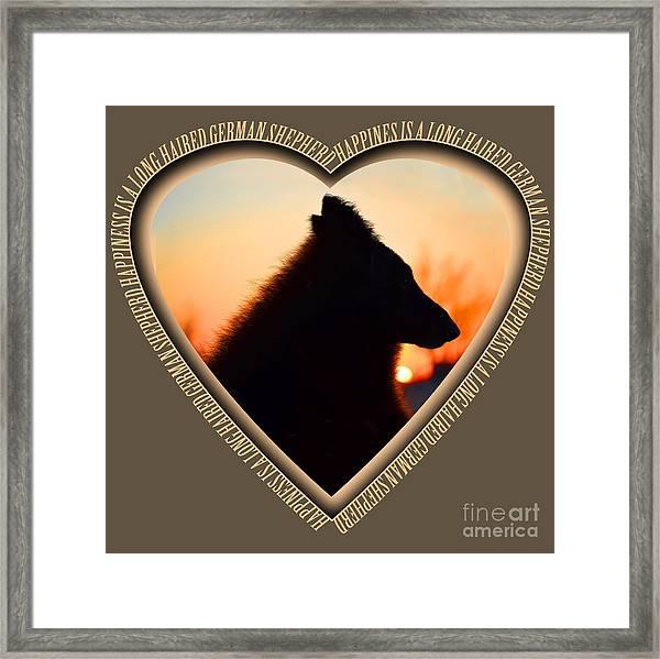 Wuffstar Happiness Is A Long Haired German Shepherd Heart Framed Print