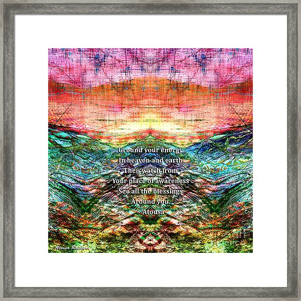 Framed Print featuring the photograph Ground Your Energy by Atousa Raissyan