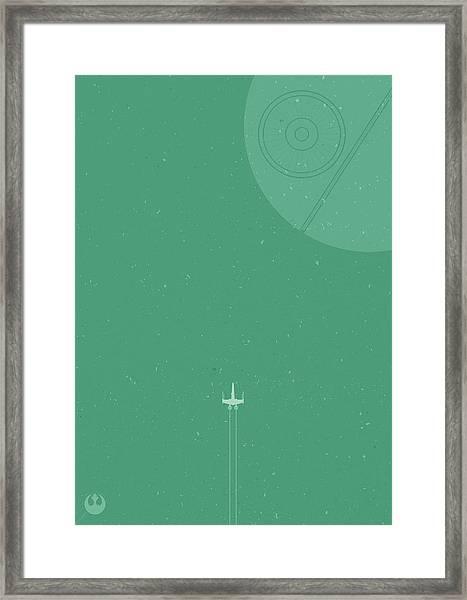 X-wing Meets Death Star Framed Print