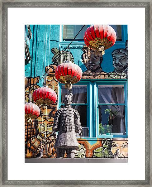 Xian Soldier With Graffiti Framed Print