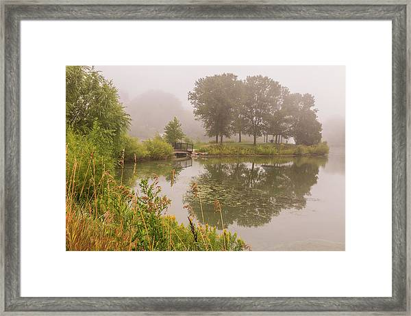 Framed Print featuring the photograph Misty Pond Bridge Reflection #5 by Patti Deters
