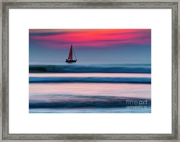 Yacht Sailing At Sunset Framed Print
