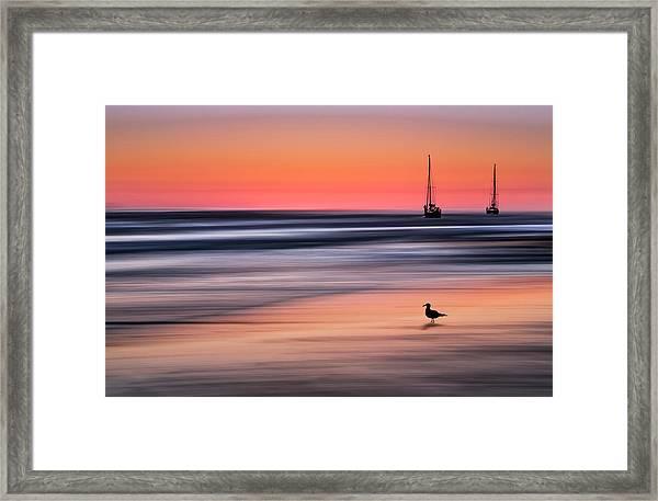 Yachts  At Sunset Widemouth Bay, Cornwall, Uk. Framed Print