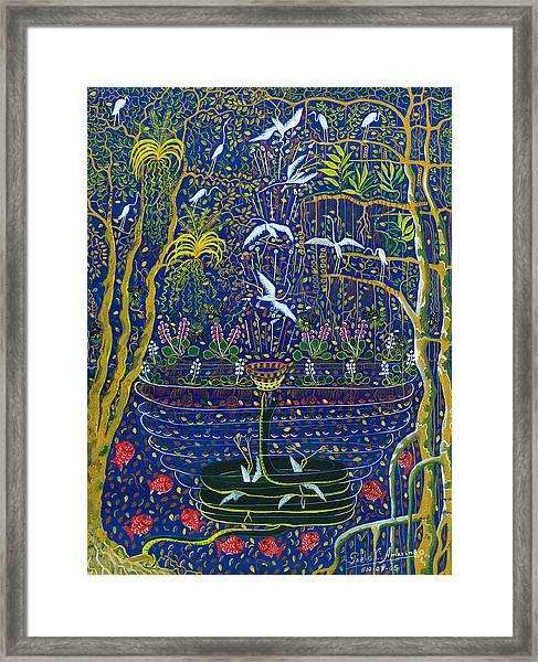 Framed Print featuring the painting Yana Yacumama  by Pablo Amaringo