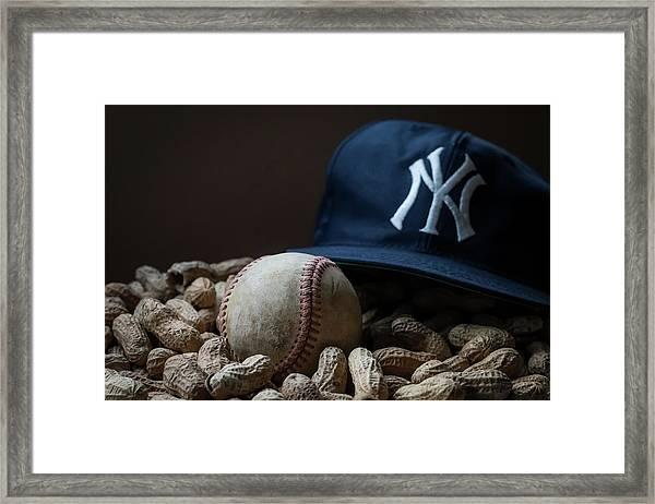 Yankee Cap Baseball And Peanuts Framed Print