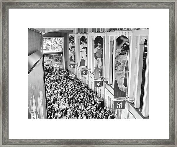 Yankee Stadium Great Hall 2009 World Series Black And White Framed Print