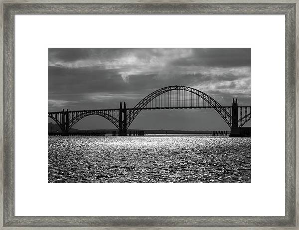 Yaquina Bay Bridge Black And White Framed Print