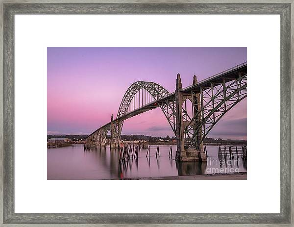 Yaquina Bay Bridge In Blue Light Framed Print