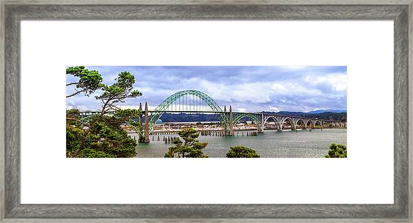 Yaquina Bay Bridge Panorama Framed Print