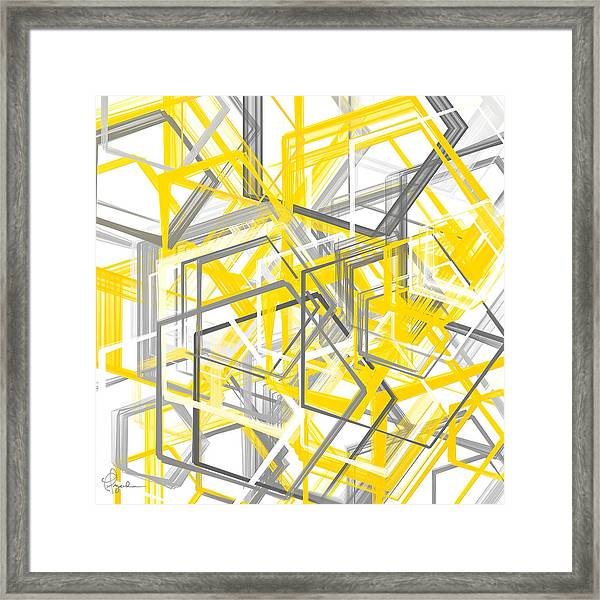 Yellow And Gray Geometric Shapes Art Framed Print
