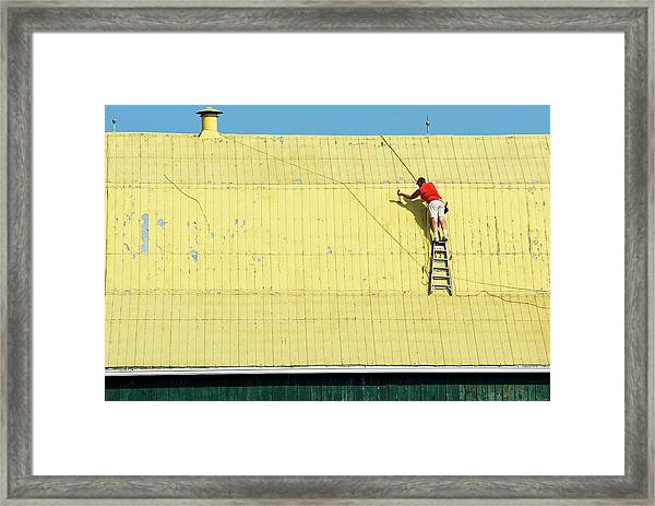 Yellow Barn Roof Workers-7 Framed Print