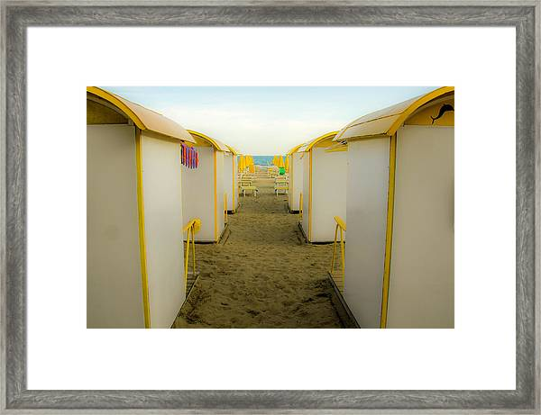 Yellow Beach Cabanas Framed Print