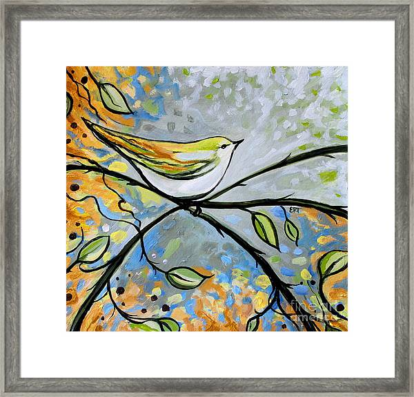 Yellow Bird Among Sage Twigs Framed Print