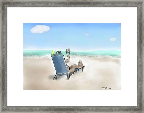 Yellow Bird Beach Selfie Framed Print