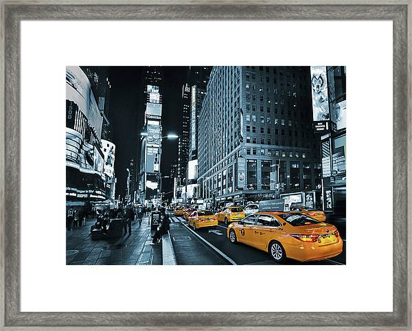 Yellow Broadway At Night - Nyc Framed Print