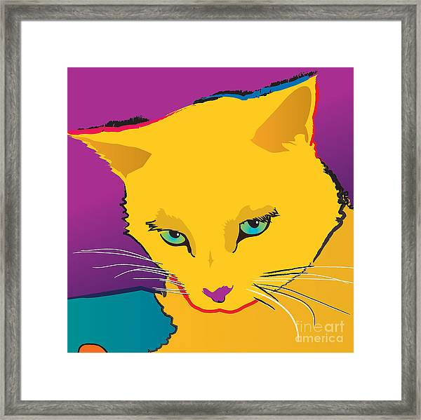 Yellow Cat Square Framed Print