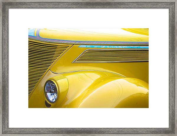 Yellow Classic Car Contours Framed Print