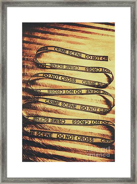 Yellow Crime Scene Ribbon On Metal Background Framed Print