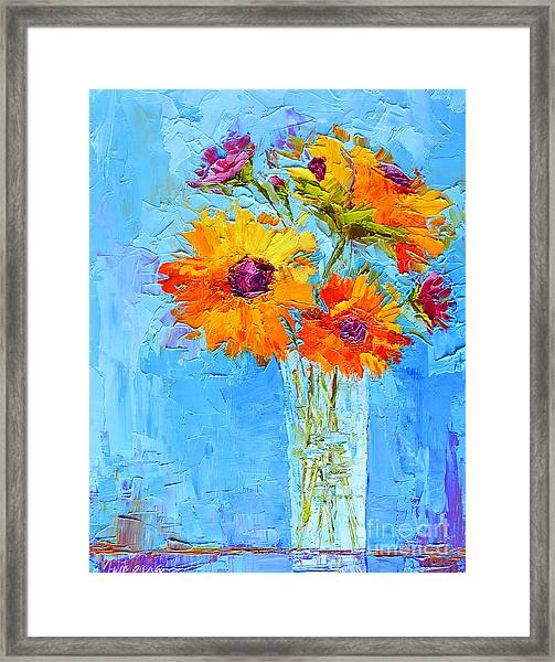 Yellow Daisies Flowers - Peonies In A Vase - Modern Impressionist Knife Palette Oil Painting Framed Print