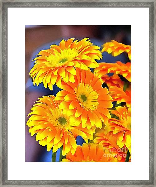 Yellow Flowers In Thick Paint Framed Print