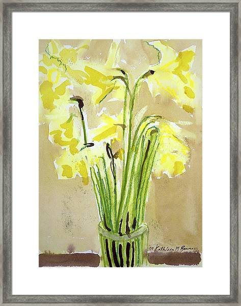 Yellow Flowers In Vase Framed Print