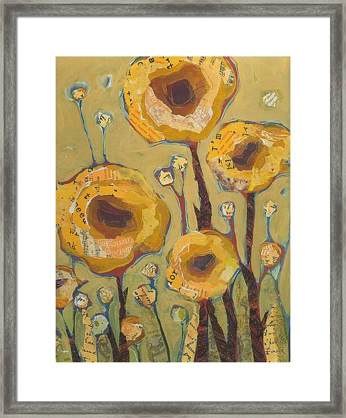 Framed Print featuring the painting Yellow Flowers No3 by Shelli Walters