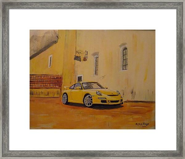 Yellow Gt3 Porsche Framed Print