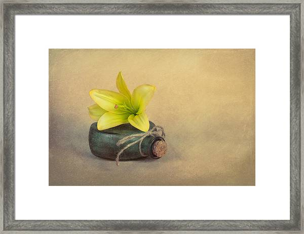 Yellow Lily And Green Bottle Framed Print
