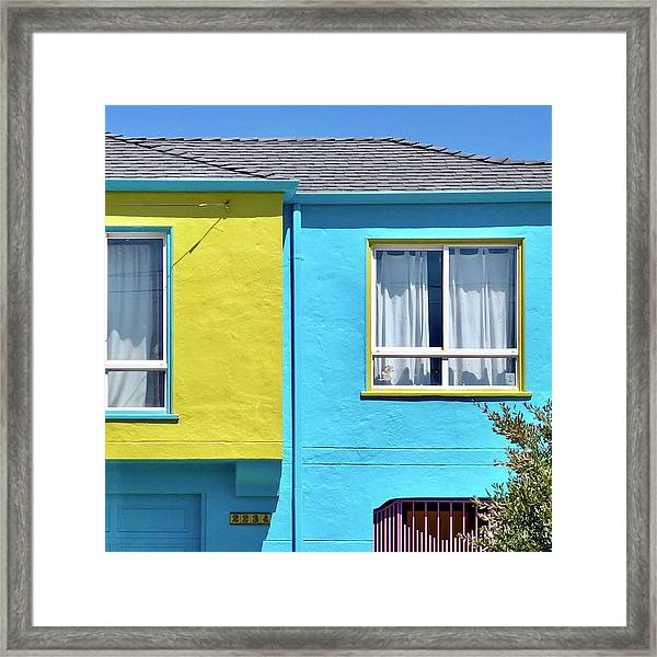 Yellow Meets Blue Framed Print