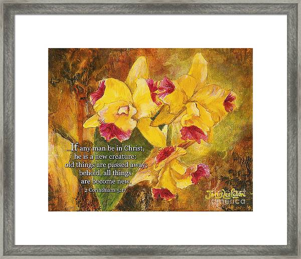 Yellow Orchids Acrylic 2 Cor 5 Framed Print