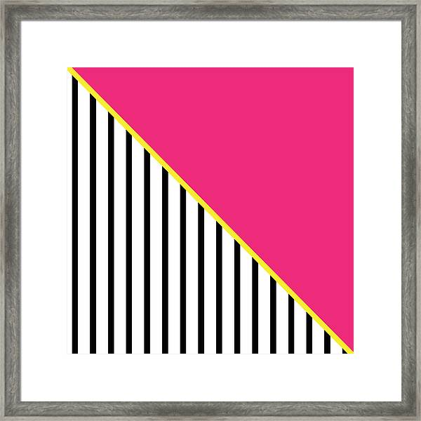 Yellow Pink And Black Geometric 2 Framed Print