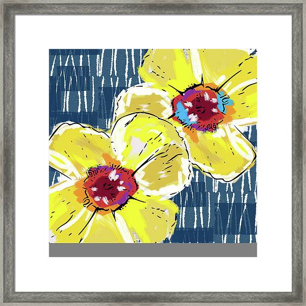 Yellow Poppies 2- Art By Linda Woods Framed Print