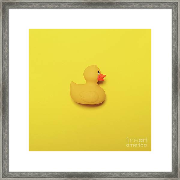 Yellow Rubber Duck On Yellow Background - Minimal Design Framed Print