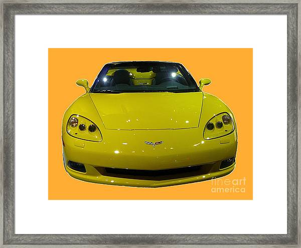 Yellow Sports Car Front Framed Print