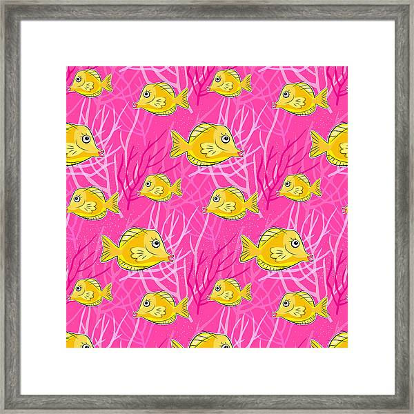 Yellow Tang In Pink Coral Sea Framed Print