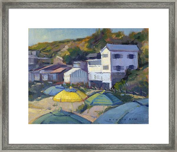 Framed Print featuring the painting Yellow Umbrella  by Konnie Kim