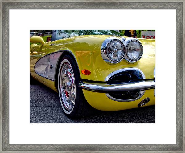 Yellow Vette Framed Print