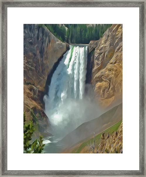 Yellowstone Falls A Stylized Landscape By Frank Lee Hawkins Framed Print