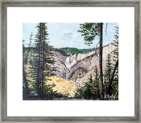 Framed Print featuring the painting Yellowstone Falls by Kevin Daly