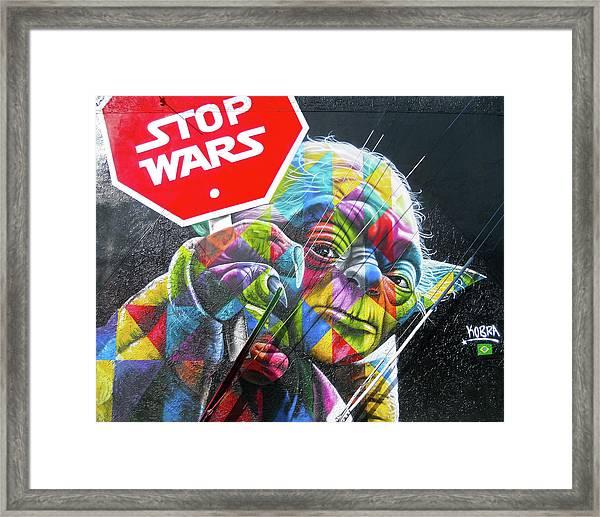 Yoda - Stop Wars Framed Print