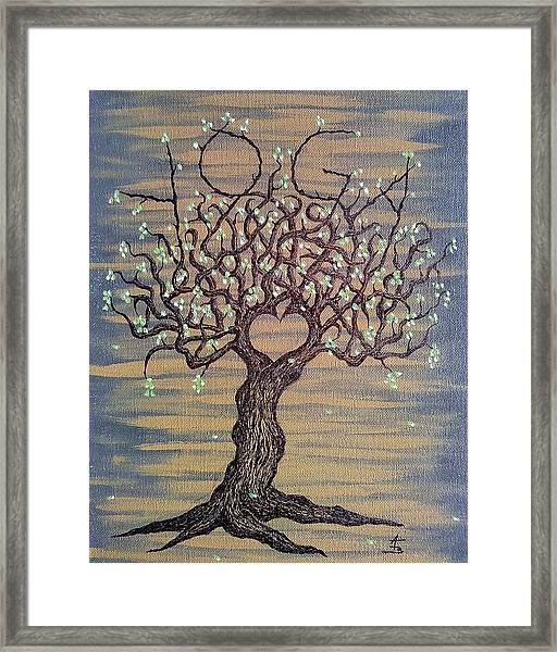 Framed Print featuring the drawing Yoga Love Tree by Aaron Bombalicki