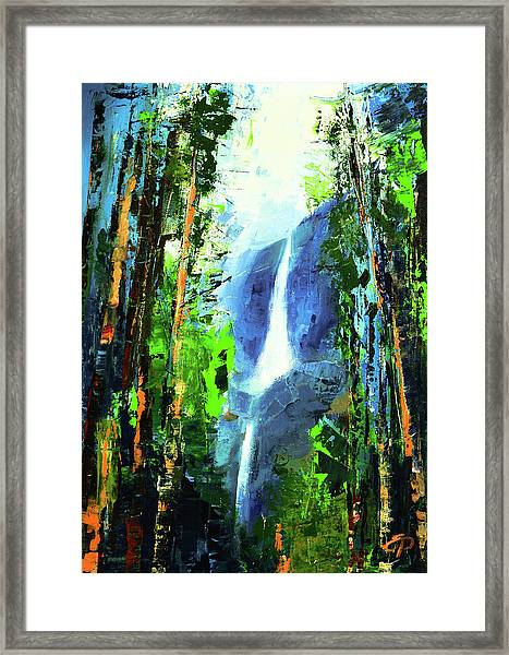 Framed Print featuring the painting Yosemite Falls by Elise Palmigiani