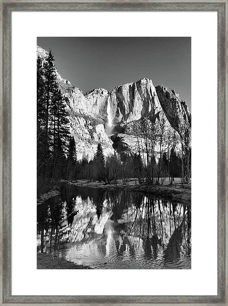 Yosemite Falls Reflections Framed Print by Stephen  Vecchiotti