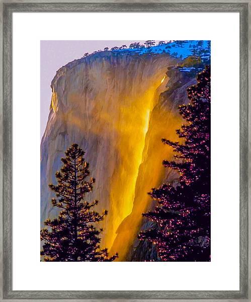 Yosemite Firefall Painting Framed Print