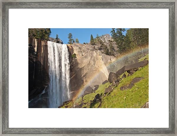 Yosemite Mist Trail Rainbow Framed Print