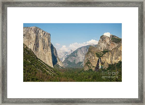 Yosemite Tunnel View With Bridalveil Rainbow By Michael Tidwell Framed Print
