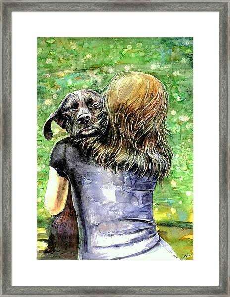 Framed Print featuring the painting You Are Safe by Katerina Kovatcheva