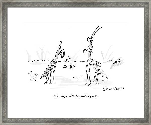 You Slept With Her Framed Print