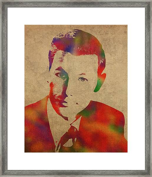 Young Johnny Carson Watercolor Portrait Framed Print