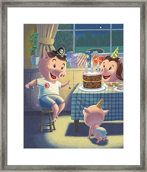Young Pig Birthday Party Framed Print